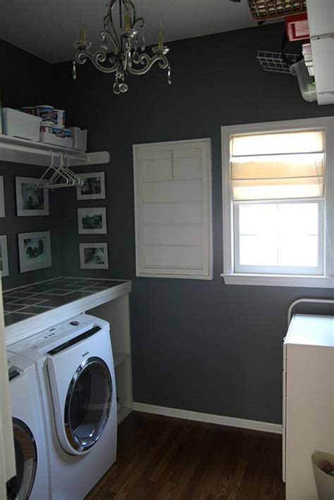 black white laundry room design