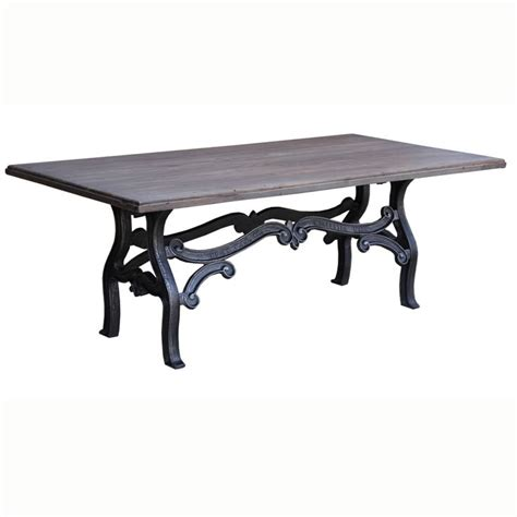 dining table vintage vintage 84 dining table in gray zinc teak top w