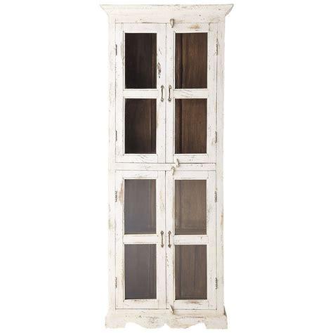 vitrine en manguier blanche effet vieilli l 80 cm avignon