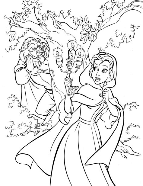 coloring pages disney and the beast walt disney pictures kawaii resources page 2