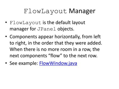 layout manager flowlayout ppt introduction powerpoint presentation id 356494