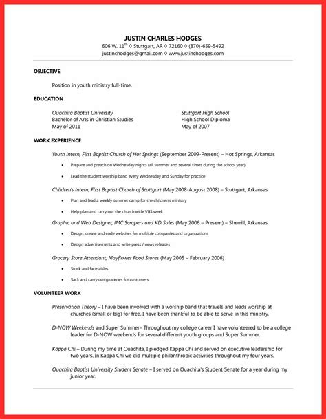 format sle of resume youth resume sle resume format