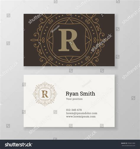 business card template us letter svg business card monogram emblem letter r stock vector