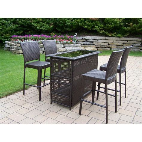 Patio Bar Table Set Oakland Living Elite Resin Wicker 5 Patio Bar Set 90053 90054 5 Cf The Home Depot