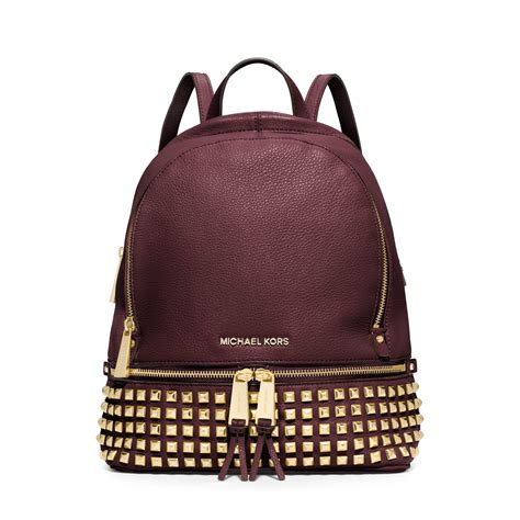 michael kors rhea small studded leather backpack in purple
