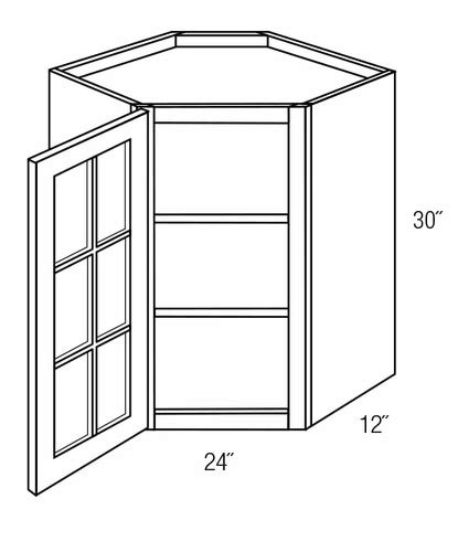 Gwdc2430 Wall Diagonal Cabinet With Mullion Glass Door