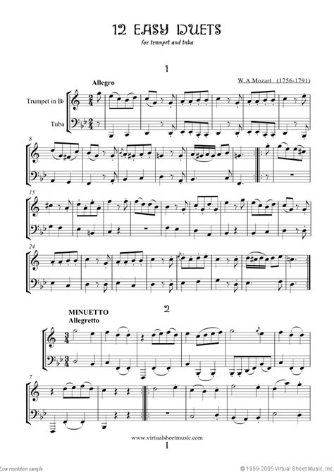 song duet mozart easy duets sheet for trumpet and tuba