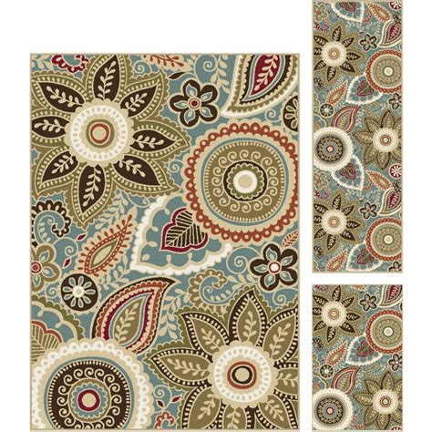 rug pieces tayse rugs majesty seafoam 5 ft x 7 ft 3 rug set mjs1313 set3 the home depot
