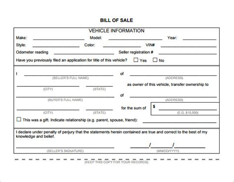 bill of sale template 39 free word excel pdf