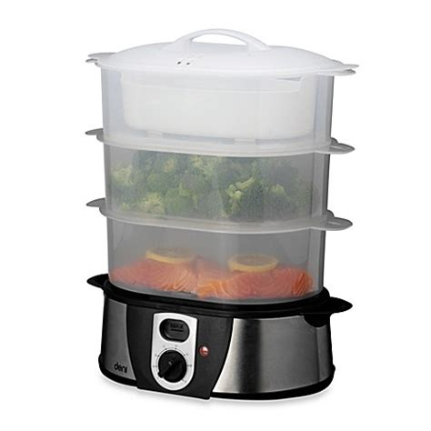 bed bath and beyond food steamer deni 3 tier stainless steel food steamer bed bath beyond