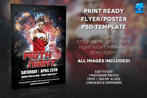 Mma Boxe Poster Print Template Flyer Templates On Creative Market Mma Flyer Template