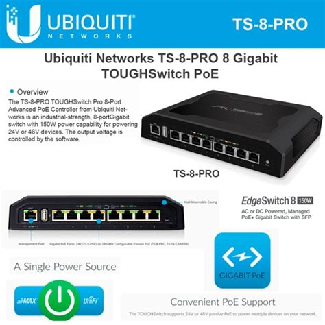 Ubiquity Tough Switch Poe Pro 8port Gigabit Ts 8 Pro Murah ubiquiti networks ts 8 pro toughswitch pro 8 port advanced poe controller 150w power
