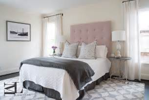 gray white and pink bedroom pink button tufted headboard transitional bedroom