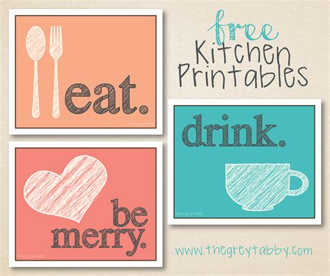 Free Kitchen Posters free kitchen printables eat drink and be merry the grey tabby