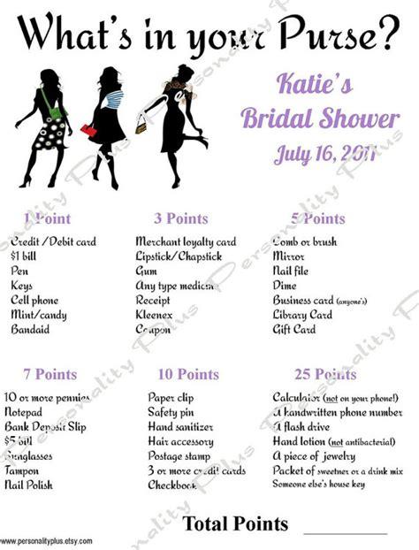 printable bridal shower purse scavenger hunt best photos of printable purse game list bridal shower