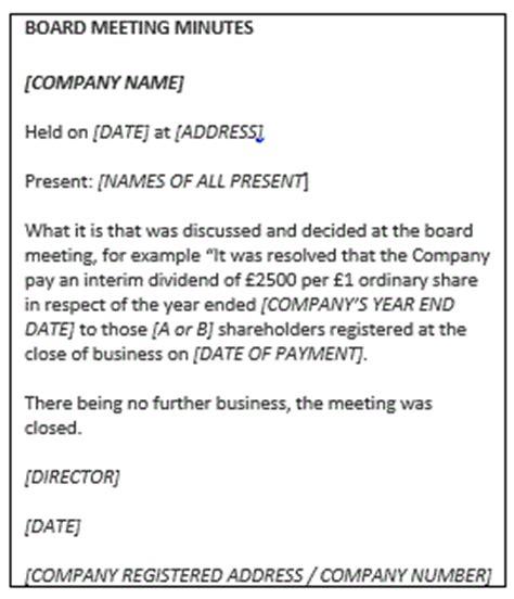 dividend vouchers board minutes anova ltd