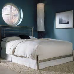 size modern metal bed frame with headboard in satin