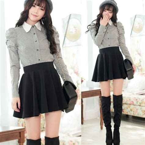 Korea Mini Dress korean color high waist pleated mini
