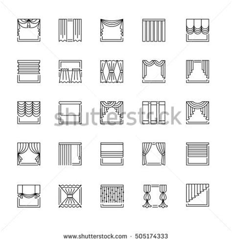 Different Styles Of Blinds For Windows Decor Vector Line Icons Drapes Window Covering Stock Vector 505174333