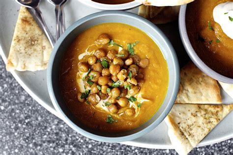carrot soup with tahini and crisped chickpeas smitten