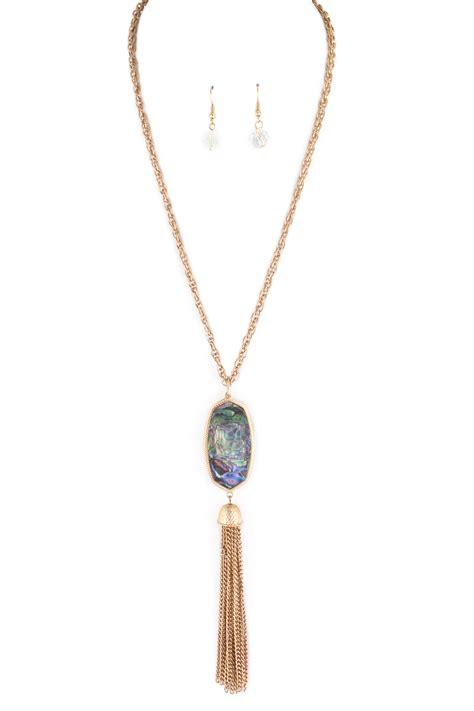 gemstone pendant tassel necklace set necklaces