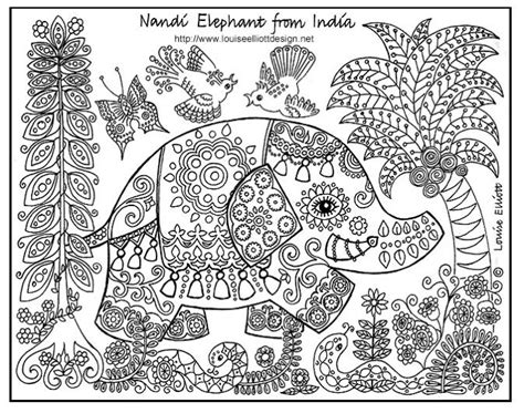 detailed elephant coloring pages nandi elephant comes from india where elephants roam wild