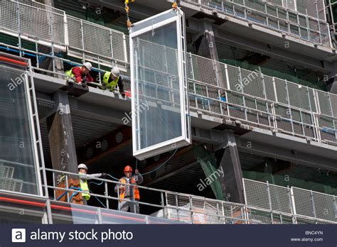 construction curtain wall installation of glass facade panels the shard