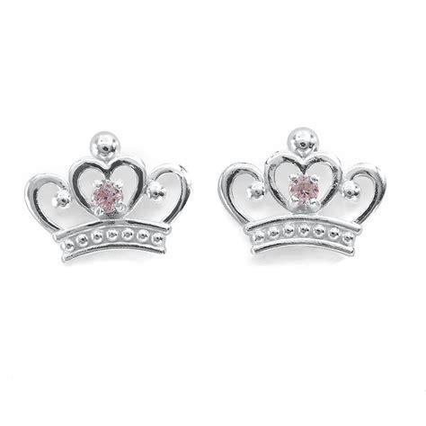 Crown Earring disney s pink cubic zirconia sterling silver crown