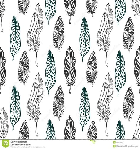 feathers seamless pattern in ethnic style hand drawn