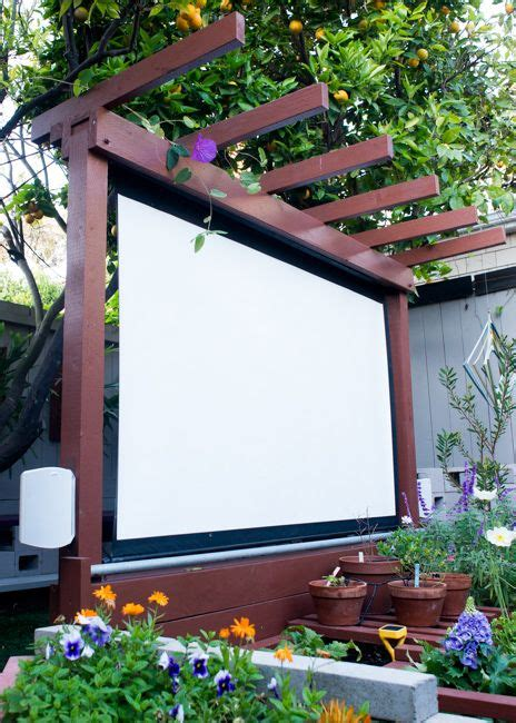 diy outdoor projection screen show thyme how to build an outdoor theater in your garden backyard and yards