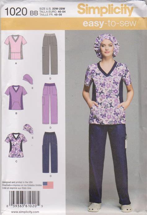 sewing pattern uniform simplicity sewing pattern 1020 women s plus sizes 20w 28w