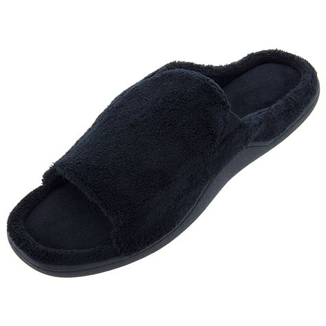 open toed slippers isotoner black open toe slippers for