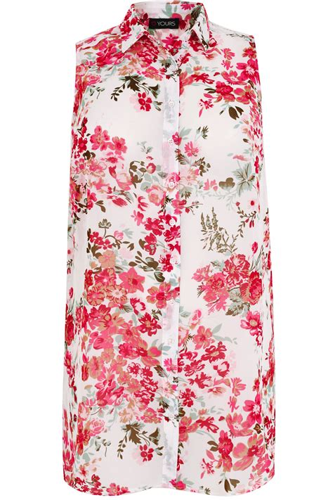 24908 White Pink Flower Size L white pink floral print sleeveless shirt plus size 16 to 32