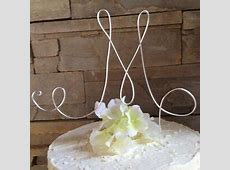 Custom wedding monogram, birthday monogram cake topper ... M Monogram Wedding Cake Toppers