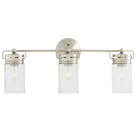 vanity lighting bathroom shop allen roth vallymede 3 light 10 2 in brushed nickel
