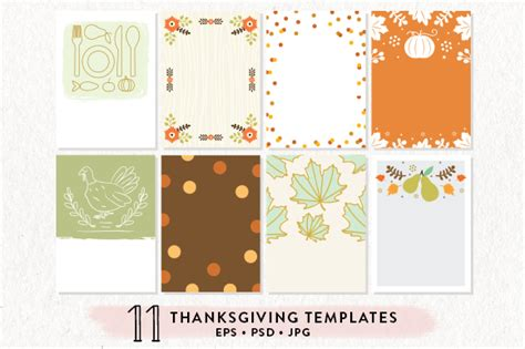 11 thanksgiving printables bundle invitation templates