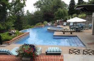 Backyard Inground Swimming Pools by Backyard Landscape Ideas Using Inground Swimming Pool And