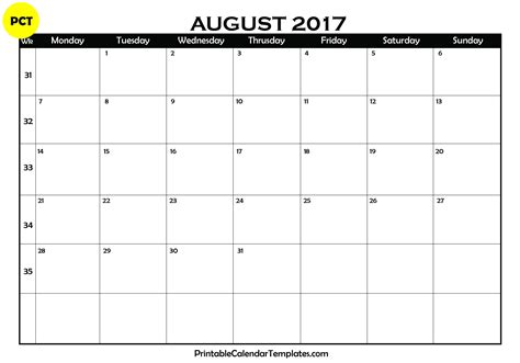 printable calendar blank 2017 august 2017 calendar printable printable calendar templates