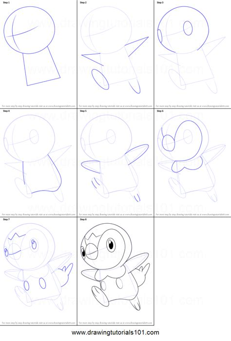 how to a step by step how to draw piplup from printable step by step drawing sheet