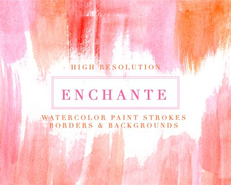 Table Cards Watercolor Paint Strokes Splash Clipart Pink Orange Coral