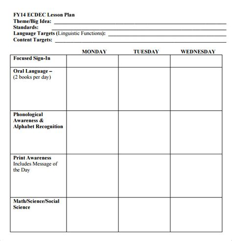 Free Printable Lesson Plan Template For Kindergarten | preschool lesson plan template 9 free sles