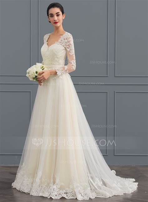 Wedding Dress by Gown V Neck Sweep Tulle Wedding Dress