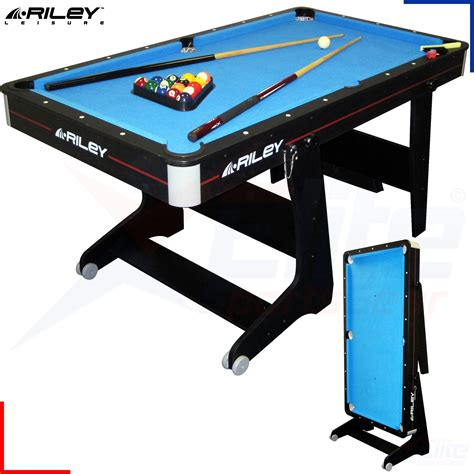 5ft Folding Pool Table 5ft Deluxe Pool Table Cues Balls Vertical Folding Ebay