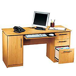Realspace Dawson Computer Desk Rs To Go Dawson 60 Computer Desk 30 H X 60 W X 24 D Sky Alder By Office Depot Officemax