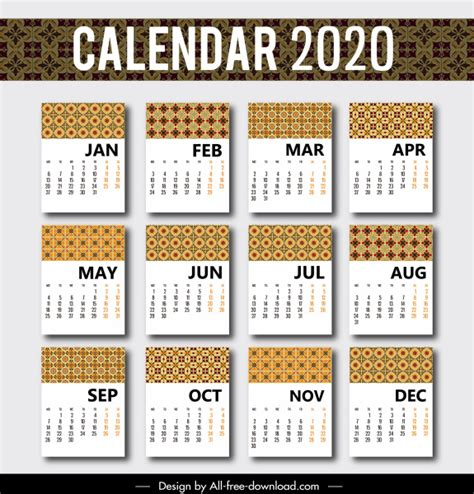 calendar template classical repeating patterns decor  vector  adobe illustrator ai
