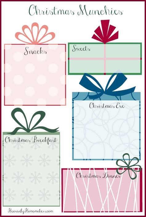 printable xmas menu free printable christmas menu planner