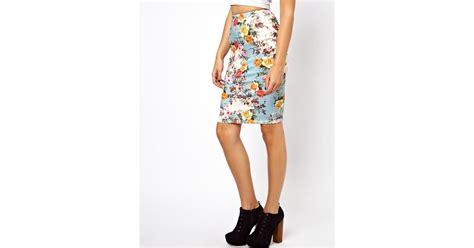asos exclusive bright floral pencil skirt lyst