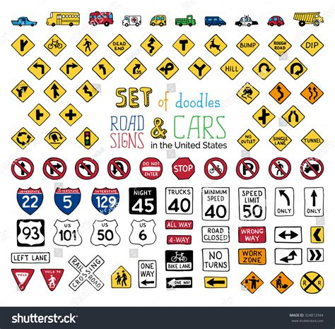 doodle sign in vector set doodles road signs vehicles stock vector