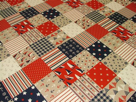 Patchwork Upholstery Fabric Uk - nautical patchwork quilting linen look fabric curtain