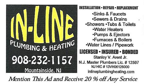 Plumbing And Heating Nj by In Line Plumbing Heating Llc In Mountainside Nj 07092